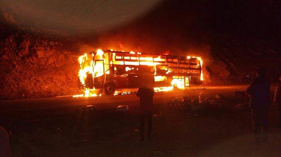 Bus interprovincial se incendia y sus 40 pasajeros se salvan de milagro