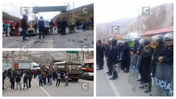 Cierran Carretera Central y La Oroya paraliza en protesta contra peaje en Ticlio