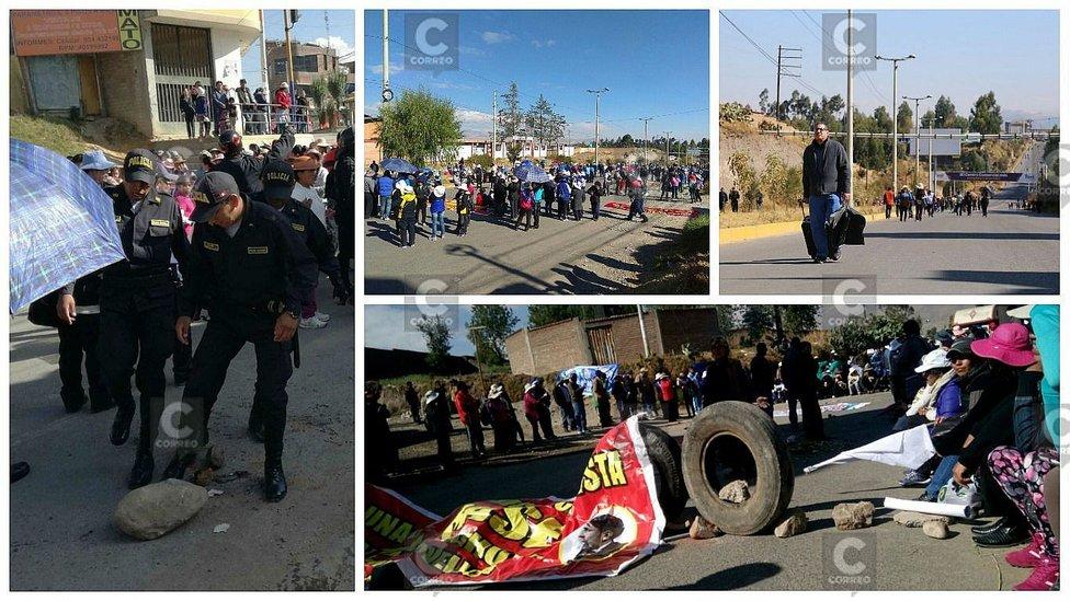 Huancayo: CGTP y docentes bloquean carreteras de ingreso a la ciudad