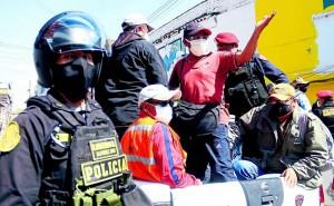 Huancayo: Más de un centenar de detenidos en protesta de CGTP y mineros