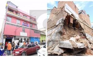 Casa de 3 pisos a punto de caer y pone en riesgo la vida de cinco familias