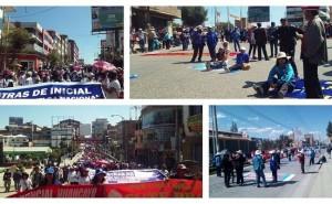 Docentes bloquean puentes y protestan fuera de colegios